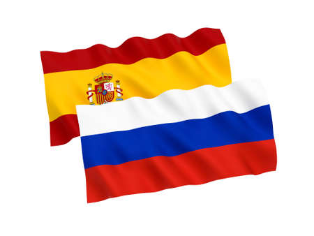 National fabric flags of Russia and Spain isolated on white background. 3d rendering illustration. 1 to 2 proportion.