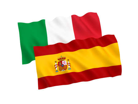 National fabric flags of Italy and Spain isolated on white background. 3d rendering illustration. 1 to 2 proportion. Stock Photo