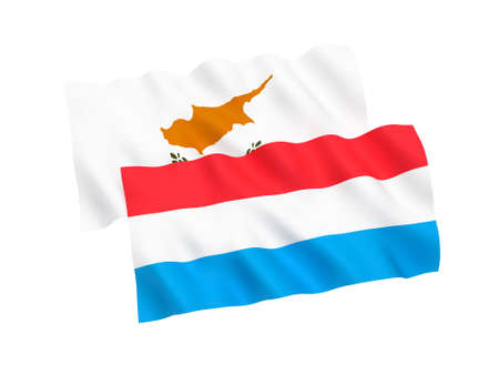 National fabric flags of Cyprus and Luxembourg isolated on white background. 3d rendering illustration. 1 to 2 proportion.
