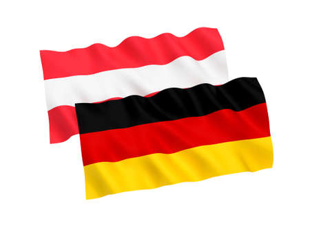 National fabric flags of Germany and Austria isolated on white background. 3d rendering illustration.
