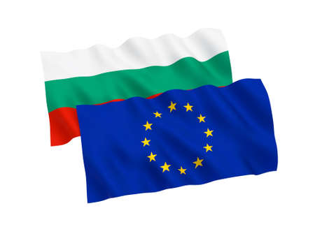 National fabric flags of Bulgaria and European Union isolated on white background. 3d rendering illustration. Proportion 1:2