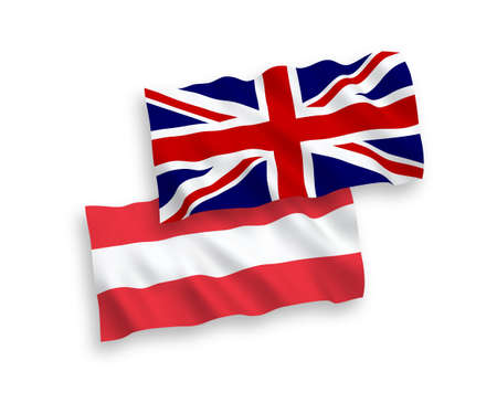 National vector fabric wave flags of Austria and Great Britain isolated on white background. 1 to 2 proportion.