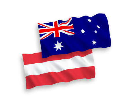 National vector fabric wave flags of Australia and Austria isolated on white background. 1 to 2 proportion. Ilustração