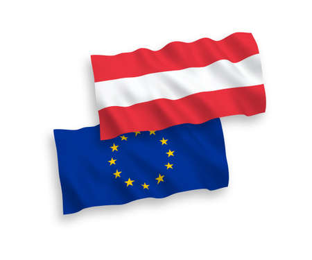 National vector fabric wave flags of Austria and European Union isolated on white background. 1 to 2 proportion. Ilustração