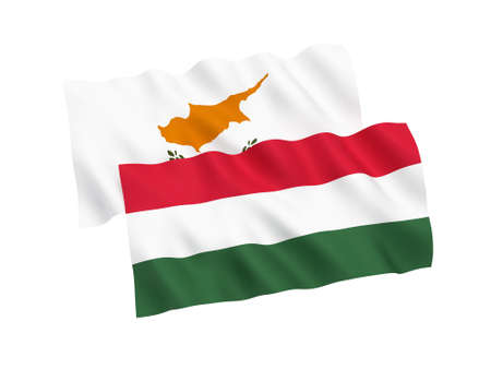 National fabric flags of Hungary and Cyprus isolated on white background. 3d rendering illustration. 1 to 2 proportion. Stock Photo