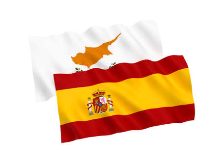 National fabric flags of Cyprus and Spain isolated on white background. 3d rendering illustration. 1 to 2 proportion. Stock Photo