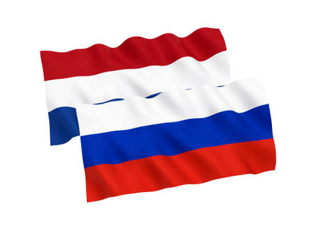 National fabric flags of Russia and Netherlands isolated on white background. 3d rendering illustration. Proportion 1:2