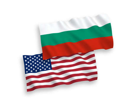 National vector fabric wave flags of Bulgaria and America isolated on white background. 1 to 2 proportion.