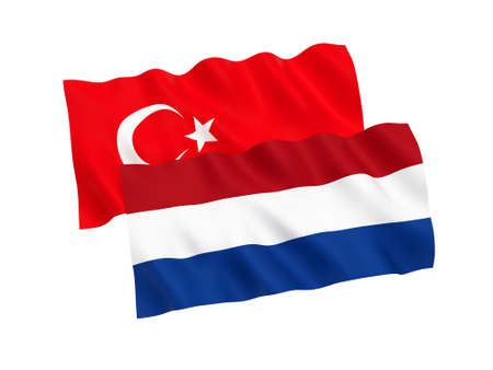 National fabric flags of Turkey and Netherlands isolated on white background. 3d rendering illustration. Proportion 1:2 Foto de archivo