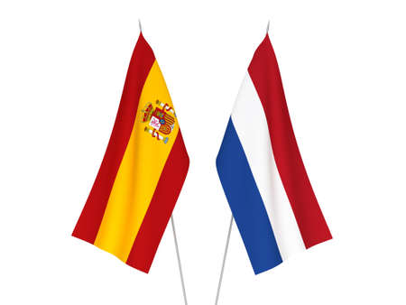 National fabric flags of Netherlands and Spain isolated on white background. 3d rendering illustration.