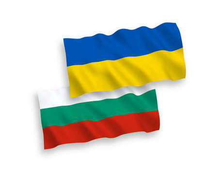 National vector fabric wave flags of Bulgaria and Ukraine isolated on white background. 1 to 2 proportion. 向量圖像