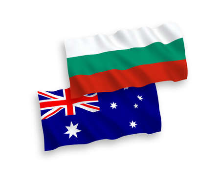 National vector fabric wave flags of Bulgaria and Austria isolated on white background. 1 to 2 proportion.