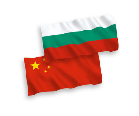 National vector fabric wave flags of Bulgaria and China isolated on white background 1 to 2 proportion. 向量圖像