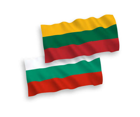 National vector fabric wave flags of Lithuania and Bulgaria isolated on white background. 1 to 2 proportion.