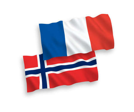 National vector fabric wave flags of France and Norway isolated on white background. 1 to 2 proportion.