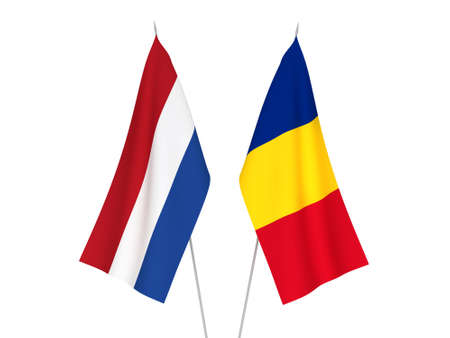 National fabric flags of Romania and Netherlands isolated on white background. 3d rendering illustration.