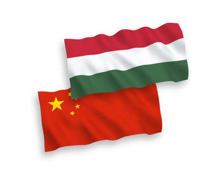 National vector fabric wave flags of Hungary and China isolated on white background 1 to 2 proportion. Иллюстрация
