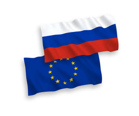 Vector Russian and European Union flags isolated on white background. 1 to 2 proportion.