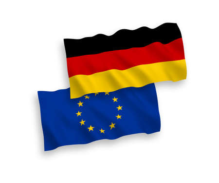 National vector fabric wave flags of European Union and Germany isolated on white background. 1 to 2 proportion. Illusztráció