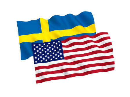 National fabric flags of Sweden and America isolated on white background. 3d rendering illustration. 1 to 2 proportion.