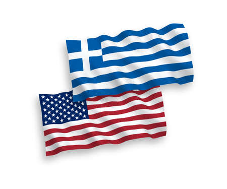 National vector fabric wave flags of Greece and USA isolated on white background. 1 to 2 proportion.