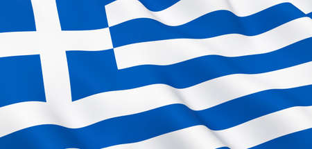 National Fabric Wave Closeup Flag of Greece Waving in the Wind. 3d rendering illustration.