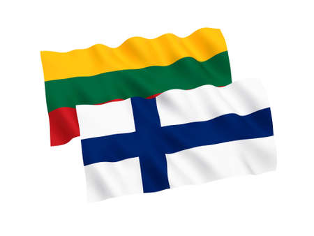 National fabric flags of Finland and Lithuania isolated on white background. 3d rendering illustration. 1 to 2 proportion.