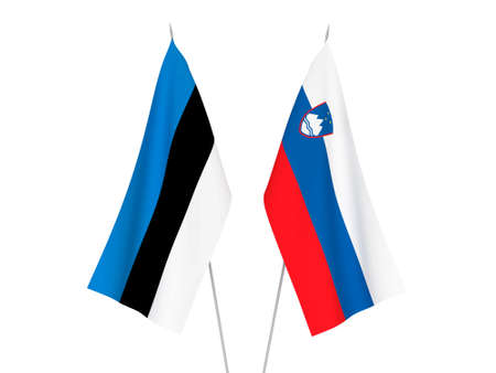 National fabric flags of Slovenia and Estonia isolated on white background. 3d rendering illustration. 写真素材