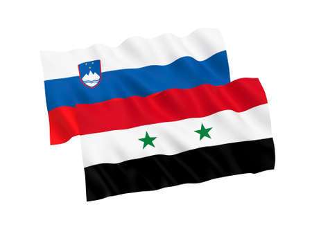 National fabric flags of Slovenia and Syria isolated on white background. 3d rendering illustration. 1 to 2 proportion.