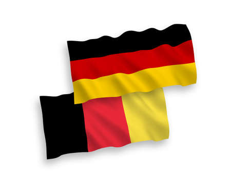 National vector fabric wave flags of Germany and Belgium isolated on white background. 1 to 2 proportion.