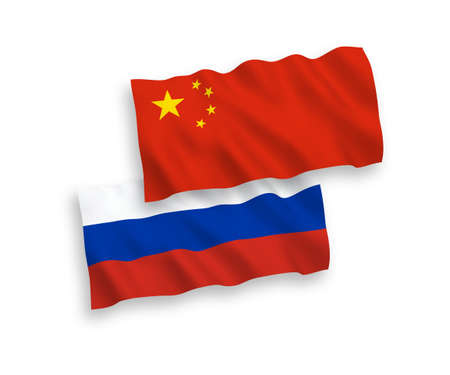 National vector fabric wave flags of Russia and China isolated on white background. 1 to 2 proportion.