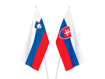 National fabric flags of Slovakia and Slovenia isolated on white background. 3d rendering illustration. 写真素材