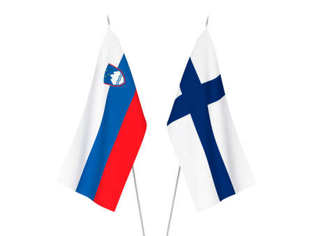 National fabric flags of Finland and Slovenia isolated on white background. 3d rendering illustration.