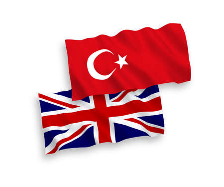 National vector fabric wave flags of Turkey and Great Britain isolated on white background. 1 to 2 proportion.