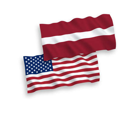 National vector fabric wave flags of Latvia and America isolated on white background. 1 to 2 proportion. Stock fotó