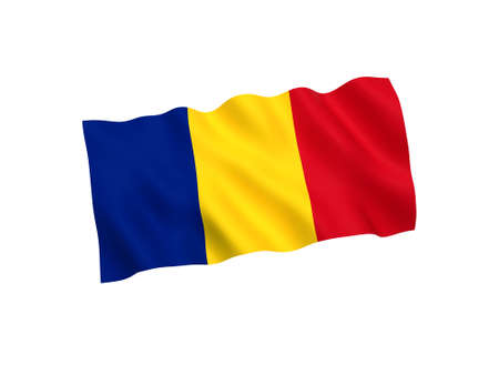 National fabric flag of Romania isolated on white background. 3d rendering illustration. 1 to 2 proportion
