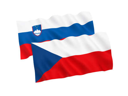 National fabric flags of Czech Republic and Slovenia isolated on white background. 3d rendering illustration. Proportion 1:2