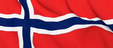 National Fabric Wave Closeup Flag of Norway Waving in the Wind. 3d rendering illustration. Imagens