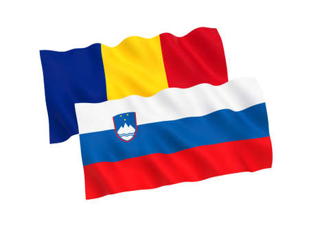 National fabric flags of Romania and Slovenia isolated on white background. 3d rendering illustration. Proportion 1:2