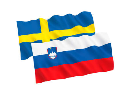 National fabric flags of Slovenia and Sweden isolated on white background. 3d rendering illustration. Proportion 1:2