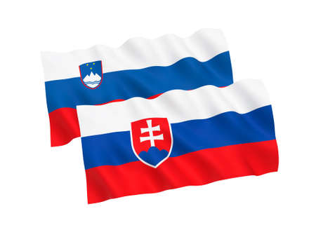 National fabric flags of Slovakia and Slovenia isolated on white background. 3d rendering illustration. Proportion 1:2