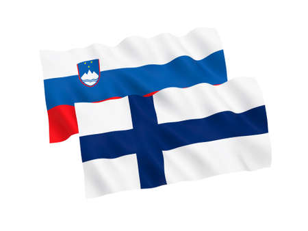 National fabric flags of Finland and Slovenia isolated on white background. 3d rendering illustration. Proportion 1:2