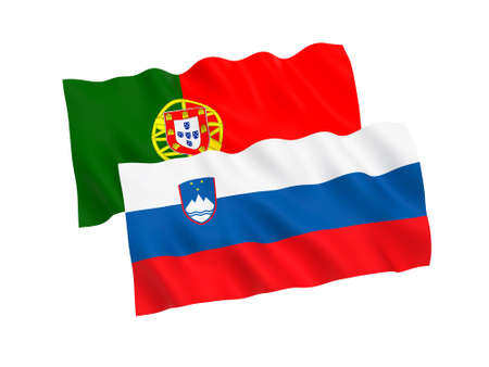 National fabric flags of Slovenia and Portugal isolated on white background. 3d rendering illustration. Proportion 1:2 Imagens