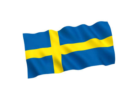 National fabric flag of Sweden isolated on white background. 3d rendering illustration. 1 to 2 proportion Imagens