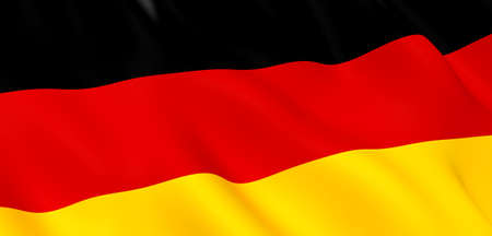 National Fabric Wave Closeup Flag of Germany Waving in the Wind. 3d rendering illustration.