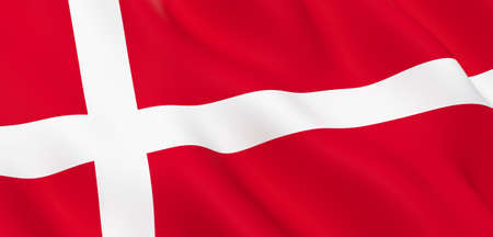 National Fabric Wave Closeup Flag of Denmark Waving in the Wind. 3d rendering illustration.