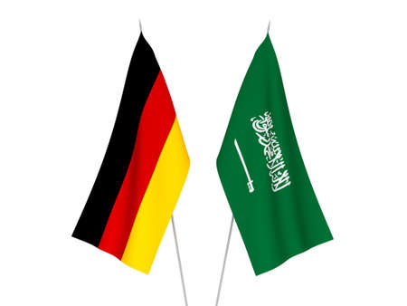 National fabric flags of Germany and Saudi Arabia isolated on white background. 3d rendering illustration. Imagens