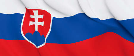 National Fabric Wave Closeup Flag of Slovakia Waving in the Wind. 3d rendering illustration. Imagens