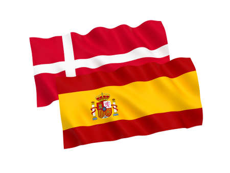 National fabric flags of Spain and Denmark isolated on white background. 3d rendering illustration. 1 to 2 proportion. Imagens