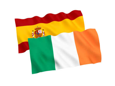 National fabric flags of Spain and Ireland isolated on white background. 3d rendering illustration. 1 to 2 proportion. Imagens